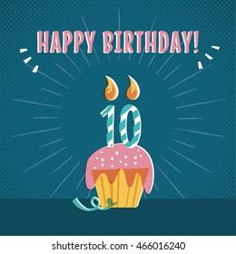 Vintage 10th Birthday cake layout
