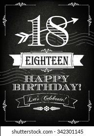 Vintage 18 years happy birthday card  with grunge background and chalk designs, vector illustration