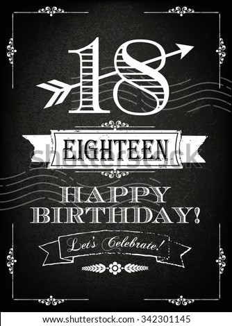 Vintage 18 Years Happy Birthday Card With Grunge Background And Chalk Designs Vector Illustration