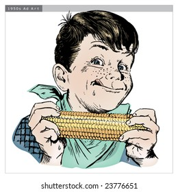 Vintage 1950s Boy Eating Corn; detailed black and white from authentic hand-drawn scratchboard includes full colorization.