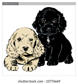Vintage 1950s cute puppies; Detailed black and white from authentic hand-drawn scratchboard includes full colorization.