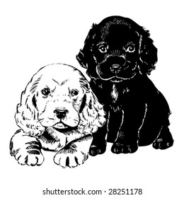 Vintage 1950s cute puppies; Detailed black and white from authentic hand-drawn scratchboard.