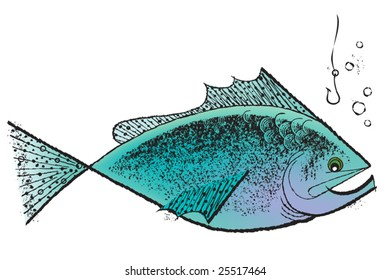 Vintage 1950s Fish; detailed black and white from authentic hand-drawn pen and ink includes full colorization.