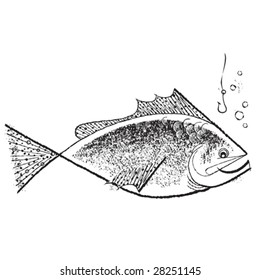 Vintage 1950s Fish; detailed black and white from authentic hand-drawn pen and ink.