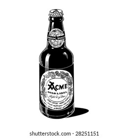 Vintage 1950s Generic Beer Bottle; detailed black and white from authentic hand-drawn pen and ink.