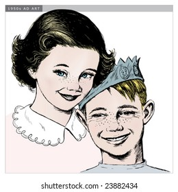Vintage 1950s Girl and Boy; Detailed black and white from authentic hand-drawn scratchboard includes full colorization.