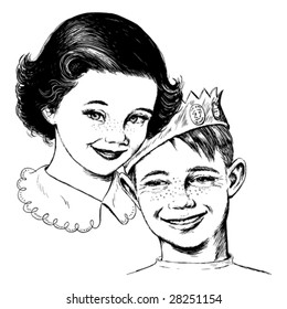 Vintage 1950s Girl and Boy; Detailed black and white from authentic hand-drawn scratchboard.