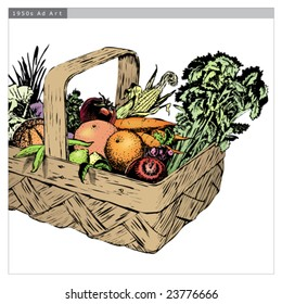 Vintage 1950s Harvest Basket of fruit and vegetables in a basket; detailed black and white from authentic hand-drawn scratchboard includes full colorization. Basket is complete.