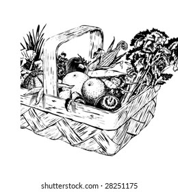 Vintage 1950s Harvest Basket of fruit and vegetables in a basket; detailed black and white from authentic hand-drawn scratchboard. Basket is complete.