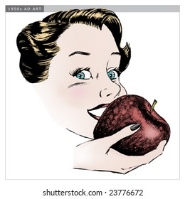 Vintage 1950s Woman Eating Apple; Detailed black and white from authentic hand-drawn scratchboard includes full colorization.