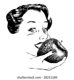 Vintage 1950s Woman Eating Apple; Detailed black and white from authentic hand-drawn scratchboard.