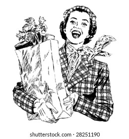 Vintage 1950s Woman with Groceries; Detailed black and white from authentic hand-drawn scratchboard.