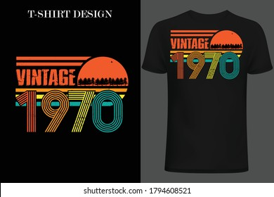 vintage 1970 t-shirt design. retro style vintage t-shirt design.