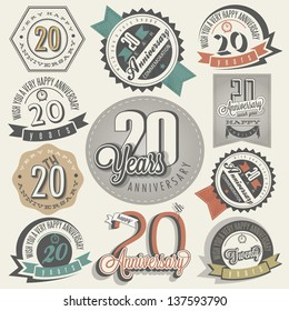 Vintage 20 anniversary collection. Twenty anniversary design in retro style. Vintage labels for anniversary greeting. Hand lettering style typographic and calligraphic symbols for 20 anniversary.
