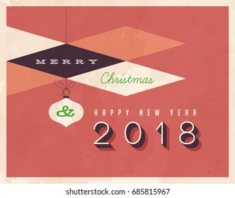 Vintage 2018 New Year's Eve greeting card. Vector EPS 10. Grunge effects can be easily removed for a clean, brand new sign. For your print and web messages : greeting cards, banners, t-shirts.