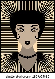 vintage 20s woman with black lipstick and necklace
