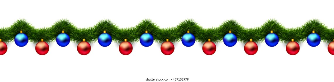 Vintage 3D abstract vector christmas decoration isolated on white background. Red and blue xmas holiday ornaments and green tinsel isolated on white. Winter holiday repeating border, seamless pattern