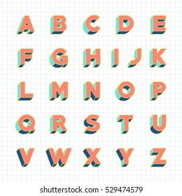 Vintage 3D font, retro bold vector typeface, with pastel color
