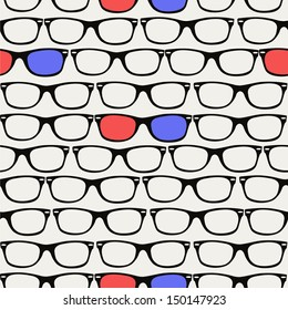 Vintage 3D glasses seamless pattern background. Vector file layered for easy editing.