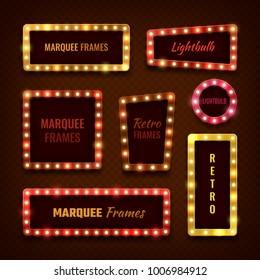 Vintage 3d light marquee vegas frames with lightbulbs vector set. Light bulb frame for cinema and circus show illustration