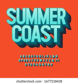Vintage 3d Premium Textured Alphabet. Retro Typeface with Good Summer Vibes. Vector Illustration.