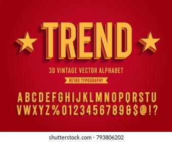 Vintage 3D Sans Serif Condensed Alphabet with Rich Colors. Retro Typography. Vector Illustration.