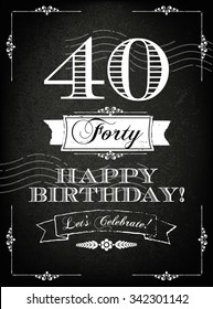 Vintage 40 years happy birthday card  with grunge background and chalk designs, vector illustration