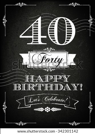 Vintage 40 Years Happy Birthday Card With Grunge Background And Chalk Designs Vector Illustration