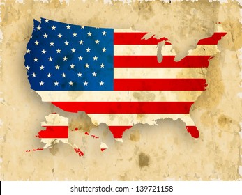 Vintage 4th of July, American Independence Day grungy background with united states map in national flag colors.