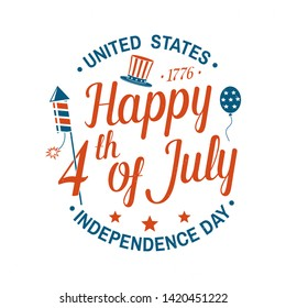 Vintage 4th of july design in retro style. Fourth of July felicitation classic postcard. Independence day greeting card. Patriotic banner for website template. Vector illustration.