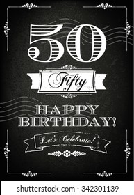 Vintage 50 years happy birthday card  with grunge background and chalk designs, vector illustration