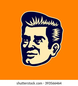 Vintage 50s man face vector clipart illustration head portrait of retro gentleman