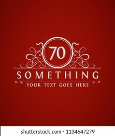 Vintage 70th anniversary emblem. Vector illustration