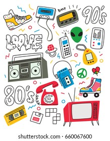 Vintage 80's 90's doodle with boom box, television, cassette and other object