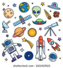 Vintage 80s-90s Space Theme Fashion Cartoon Illustration Set Suitable for Badges, Pins, Sticker, Patches, Fabric, Denim, Embroidery and Other Fashion Related Purpose