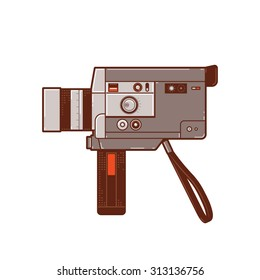 Vintage 8mm movie cameras. Hand camera to record moving images or video. This camera is popular in the past.
