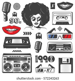 Vintage 90s style elements set with boombox console woman microphone diskette cassete glasses game symbols isolated vector illustration