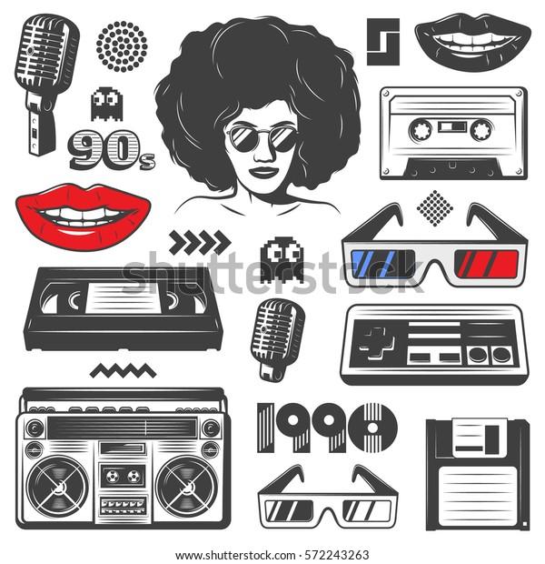 Vintage-90er-Jahre-Stil-Elemente mit Boombox-Konsole Frau Mikrofon-Diskette-Klassikette-Brille-Spiel-Symbole einzeln Vektorgrafik