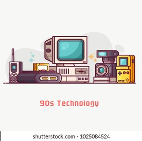 Vintage 90s technology banner. Nineties multimedia electronic entertainment gadgets with camera, old computer, game console and cellphone. Abstract retro tech devices concept background in flat design