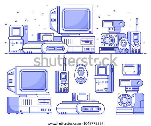 Vintage 90s technology icons. Nineties multimedia electronic entertainment gadgets icon set with camera, old computer, console and cellphone. Abstract retro tech devices background in line art.