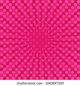 Vintage abstract background. Pink rays with gradient halftone. Comics background. Sun rays poster. Sunbeams. Pop Art Background. Retro Background. Comic star burst rays. Vector EPS10