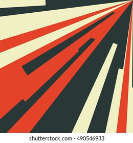 Vintage abstract background with radial rays. Vector illustration. Backdrop for posters and billboards. Triangles and stripes converging in the corner.