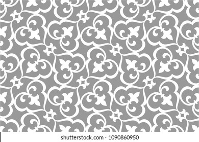 Vintage abstract floral seamless pattern. Intersecting elegant stylized leaves and scrolls forming abstract floral ornament in Arabesque style.