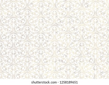 Vintage abstract floral seamless pattern. Intersecting curved elegant stylized leaves and scrolls forming abstract floral ornament in Arabic style on white background. Arabesque.