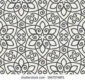 Vintage abstrakte florale nahtlose Muster. Intersekting geschwungenen eleganten stilisierten Blättern und Rollen, die abstrakten floralen Hintergrund im arabischen Stil bilden. Arabesque Design. Ziergitter.