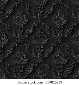 Vintage abstract pattern seamless background floral foliage