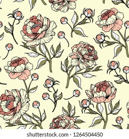 Vintage abstract peony flower with buds and leaves. Cartoonish style. Vector illustration. Perfect for print, textile, cards and apparel.