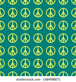 Vintage abstract poster with gold peace symbol on green background. Vector seamless texture.
