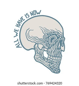 Vintage abstract skull on white background.  Vector print for t-shirt or cover, tattoo