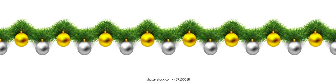 Vintage abstract vector christmas decoration with gold and silver xmas balls and green tinsel look like christmas tree branches. Object isolated on white background. Winter holiday repeating pattern.